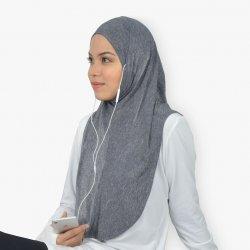 EZ Tunes Sports Hijab - Melange Grey