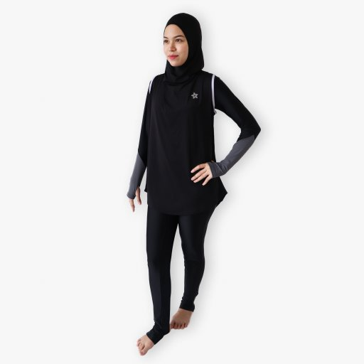 Full Set Swimwear 3  (Body Suit & Hooda Fishtail Sports HIjab)