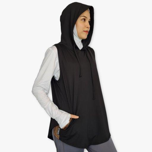 Sleeveless Hoodie : Black