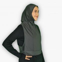 Tudung Sukan Hooda Kelabu Tua - Zip Poket (Kegunaan Basah&Kering)