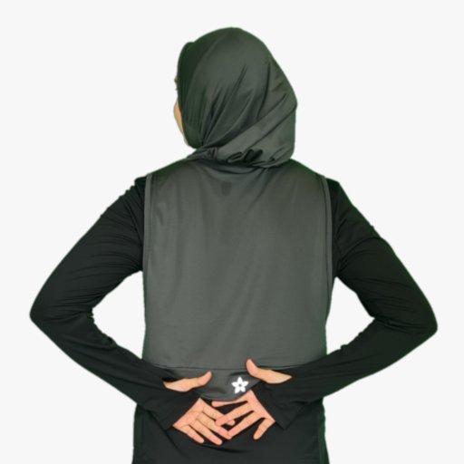 Hooda Hijab Dark Grey Dry Use (with Zipper Pocket)