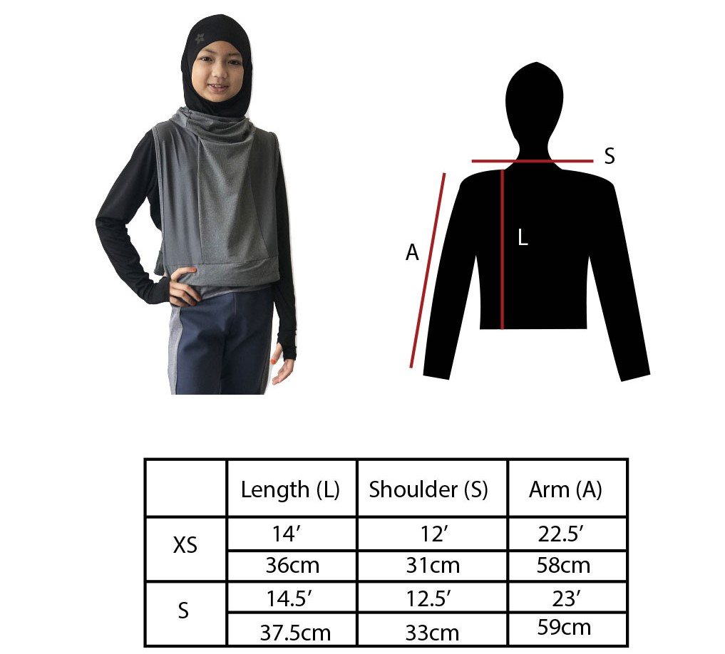 Crop Top Junior Sports Hijab for Children Size Chart