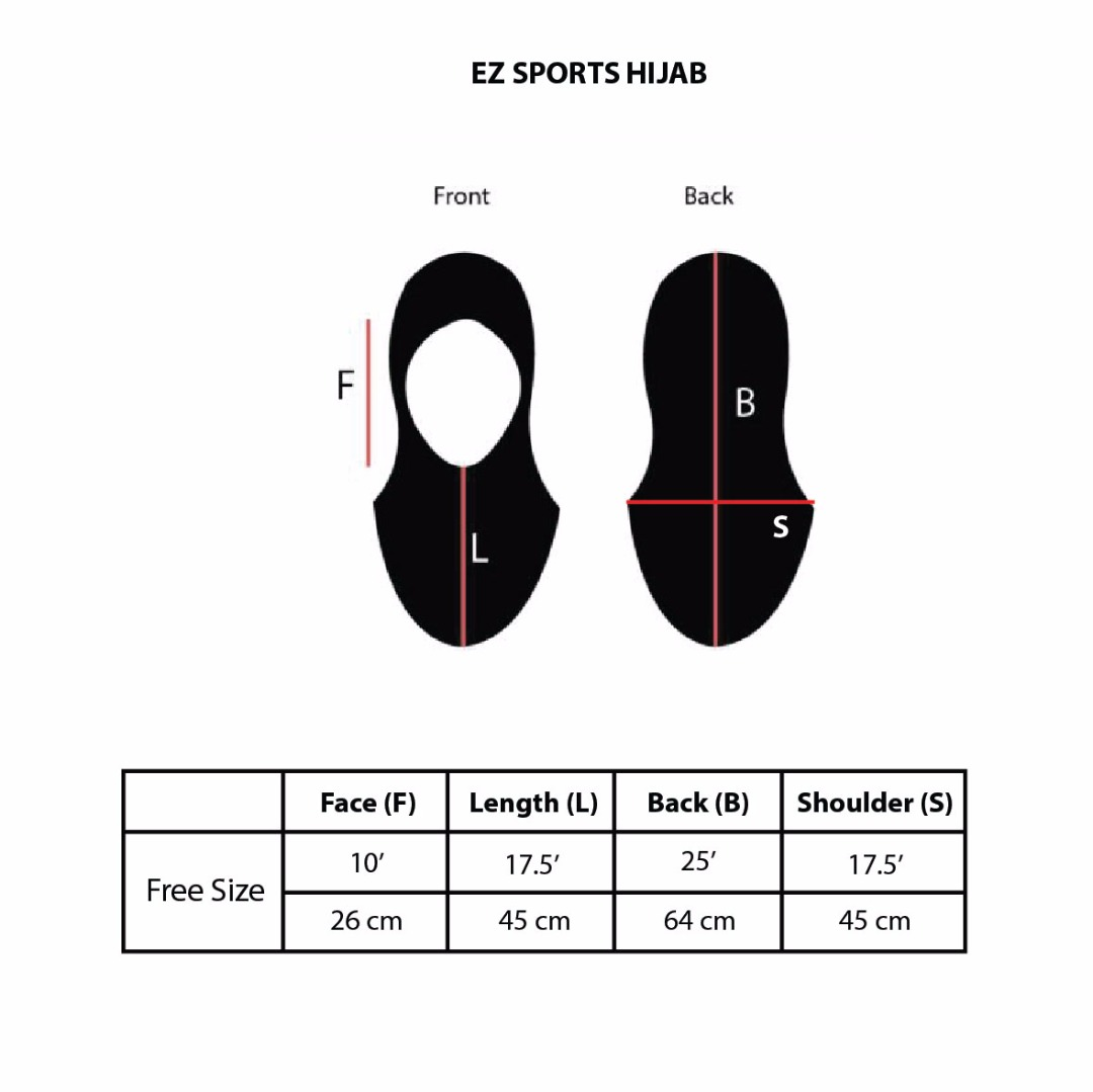 Athleijab Sports HIjab Size Chart by Nashata