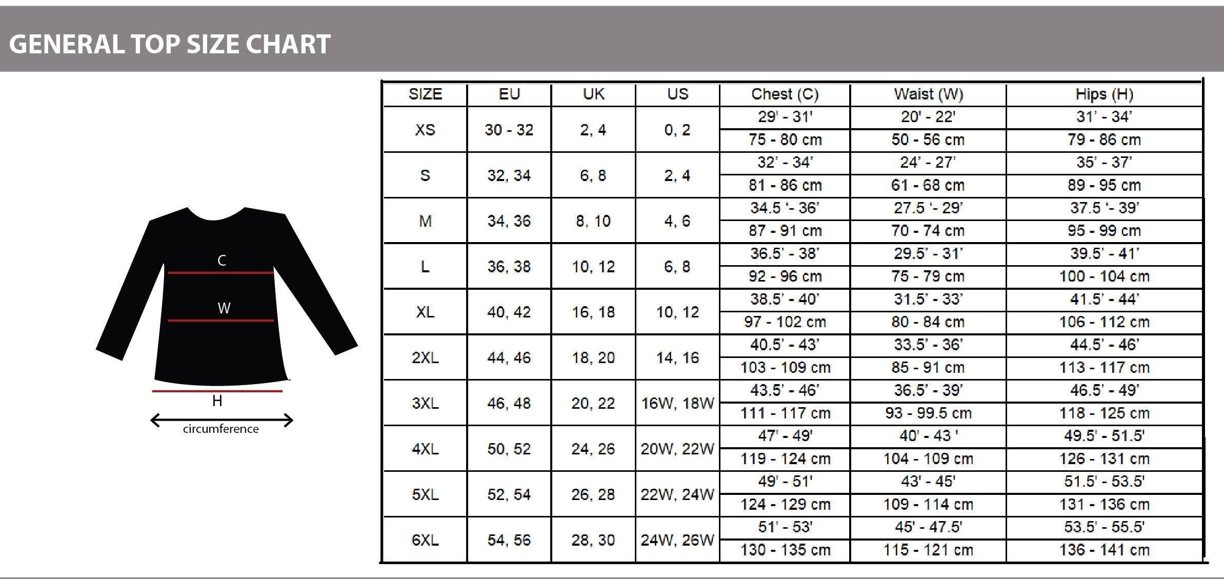 Universal Size Chart Top Women