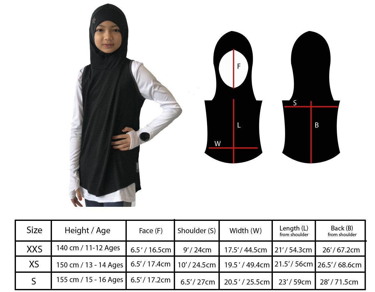 Hooda fishtail sports hijab size chart for children