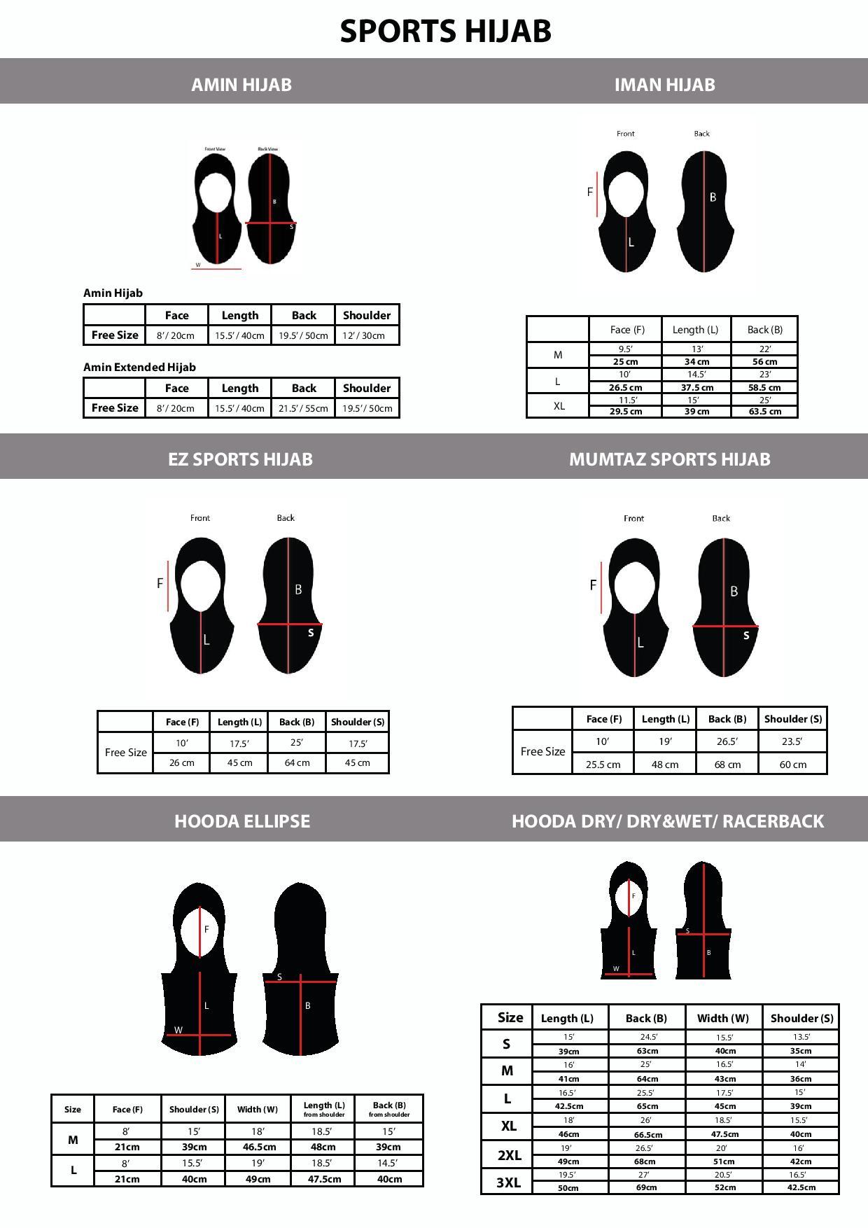 Hijab Size Chart