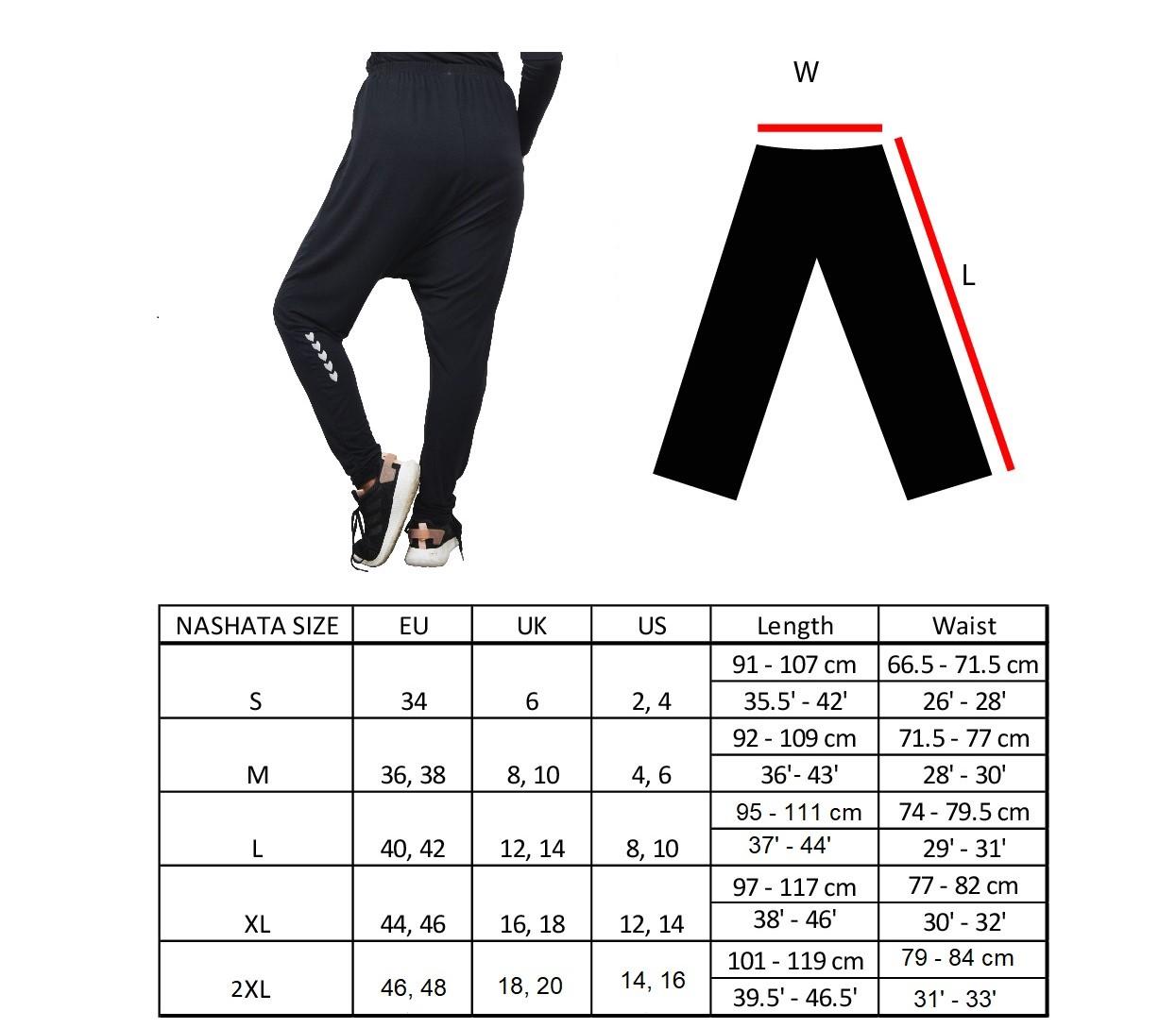 harem pants size chart