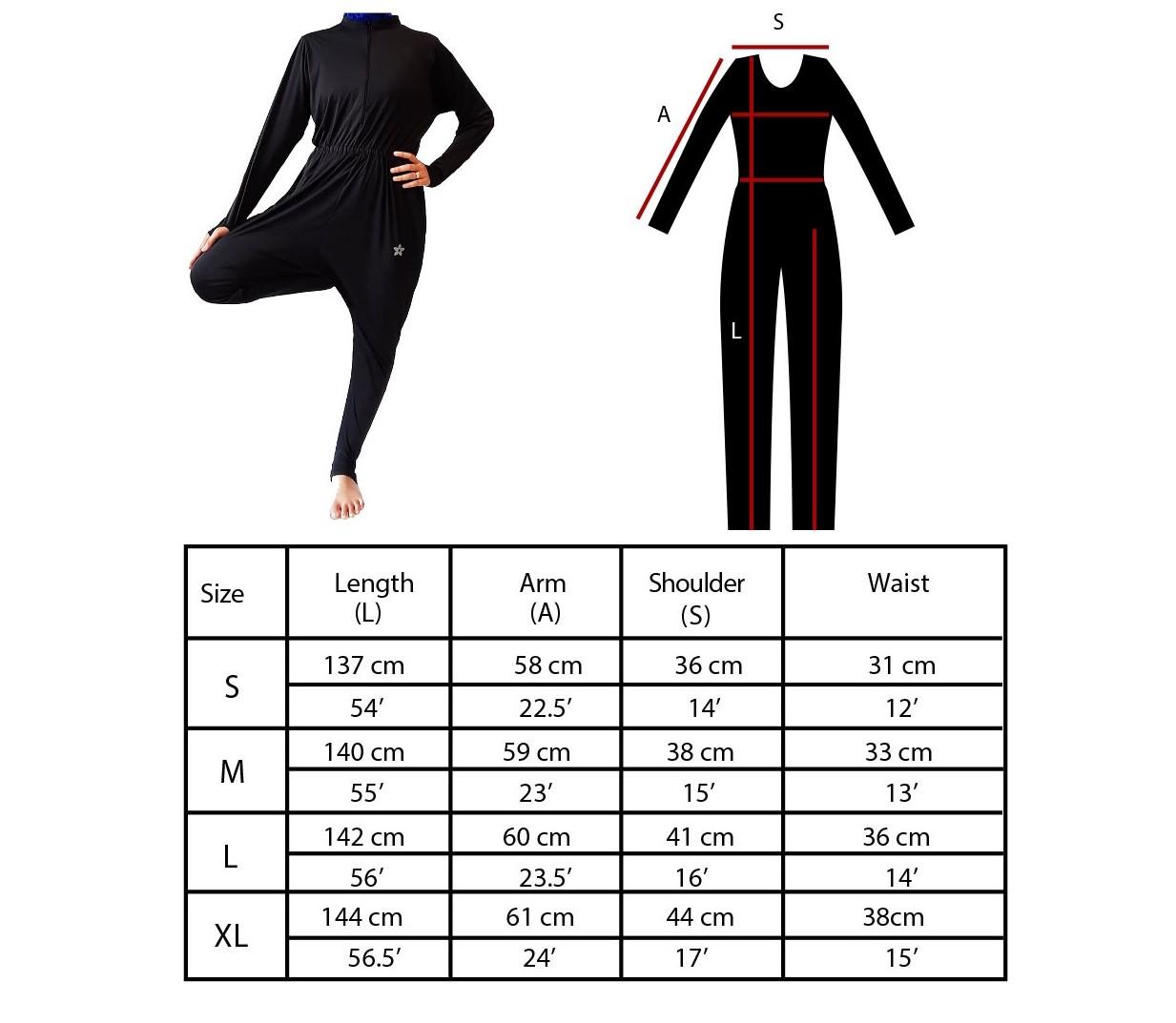 Yoga Suit Size Chart