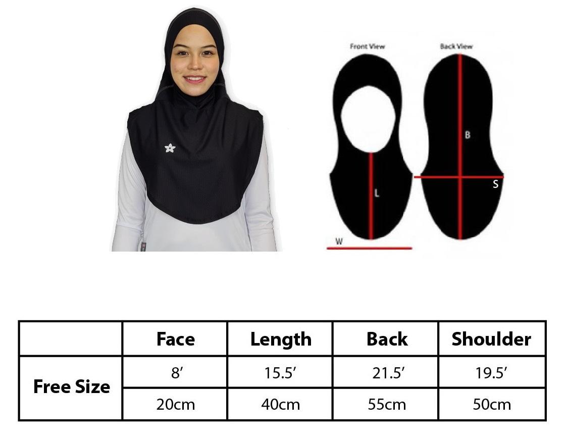 Size Chart Amina Sports Hijab