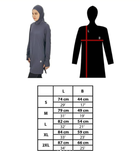 Azza Toplectic Size Chart