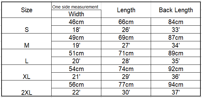 fishtail hoodie measurement