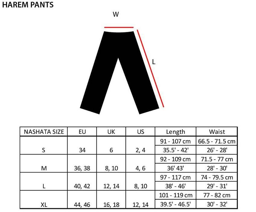 Size Chart Harem Pants