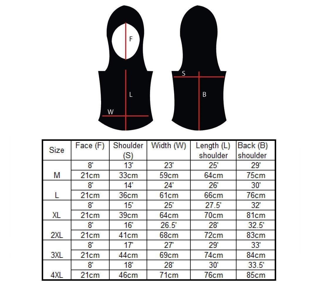 Hooda fishtail size chart