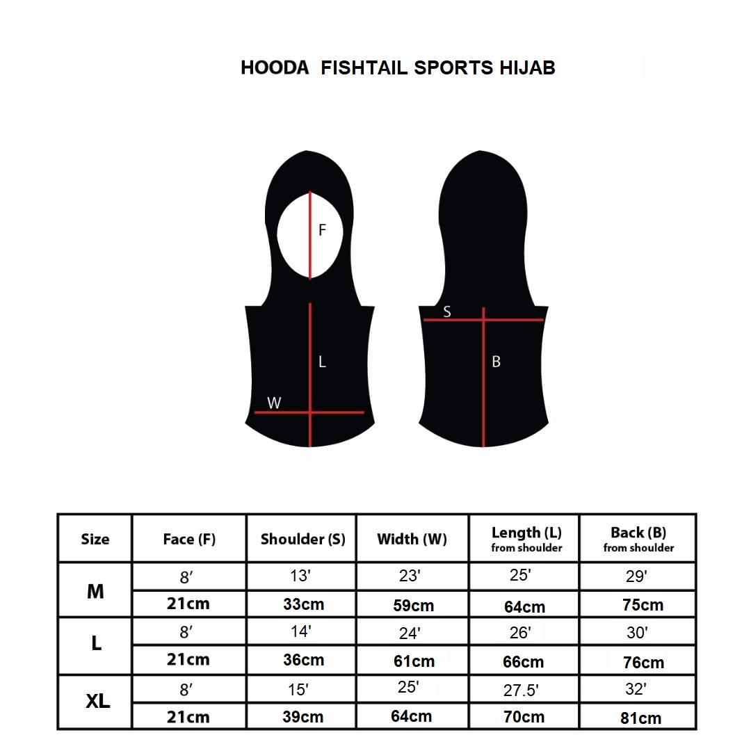 Hooda FishTail Sports Hijab Size Chart
