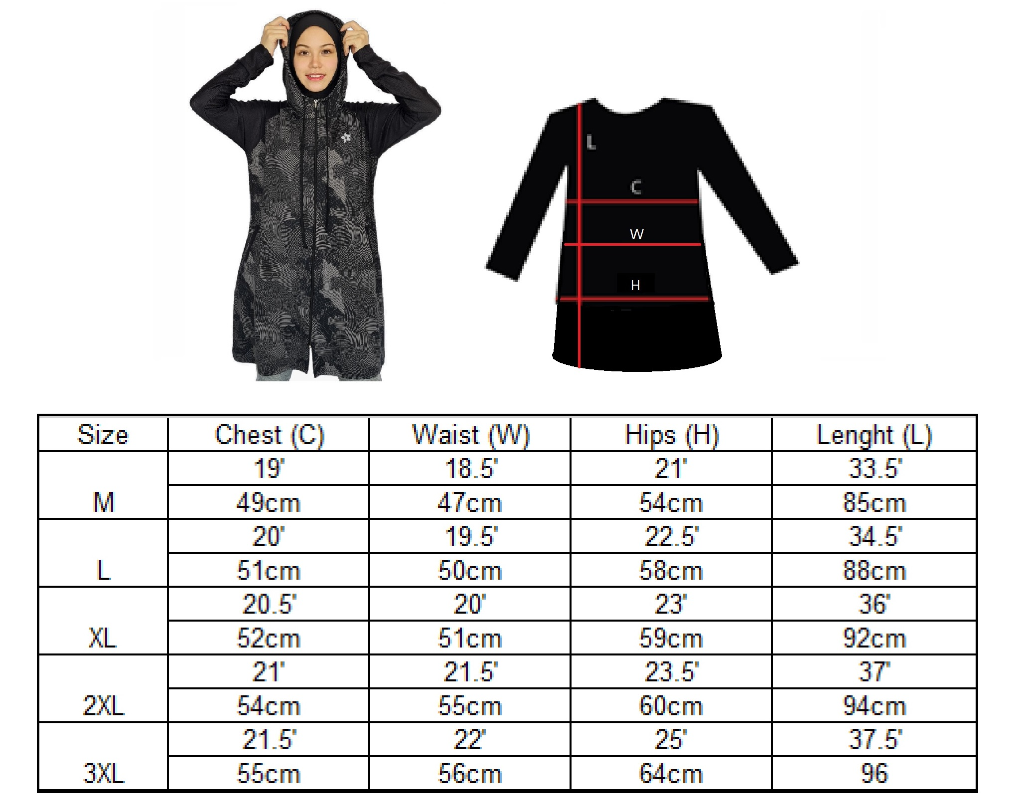 size chart knee length hoodie