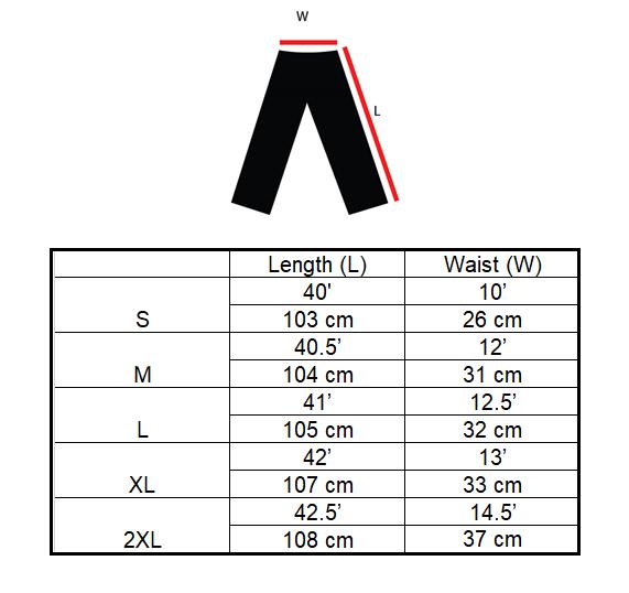 Compression Pants Size Chart