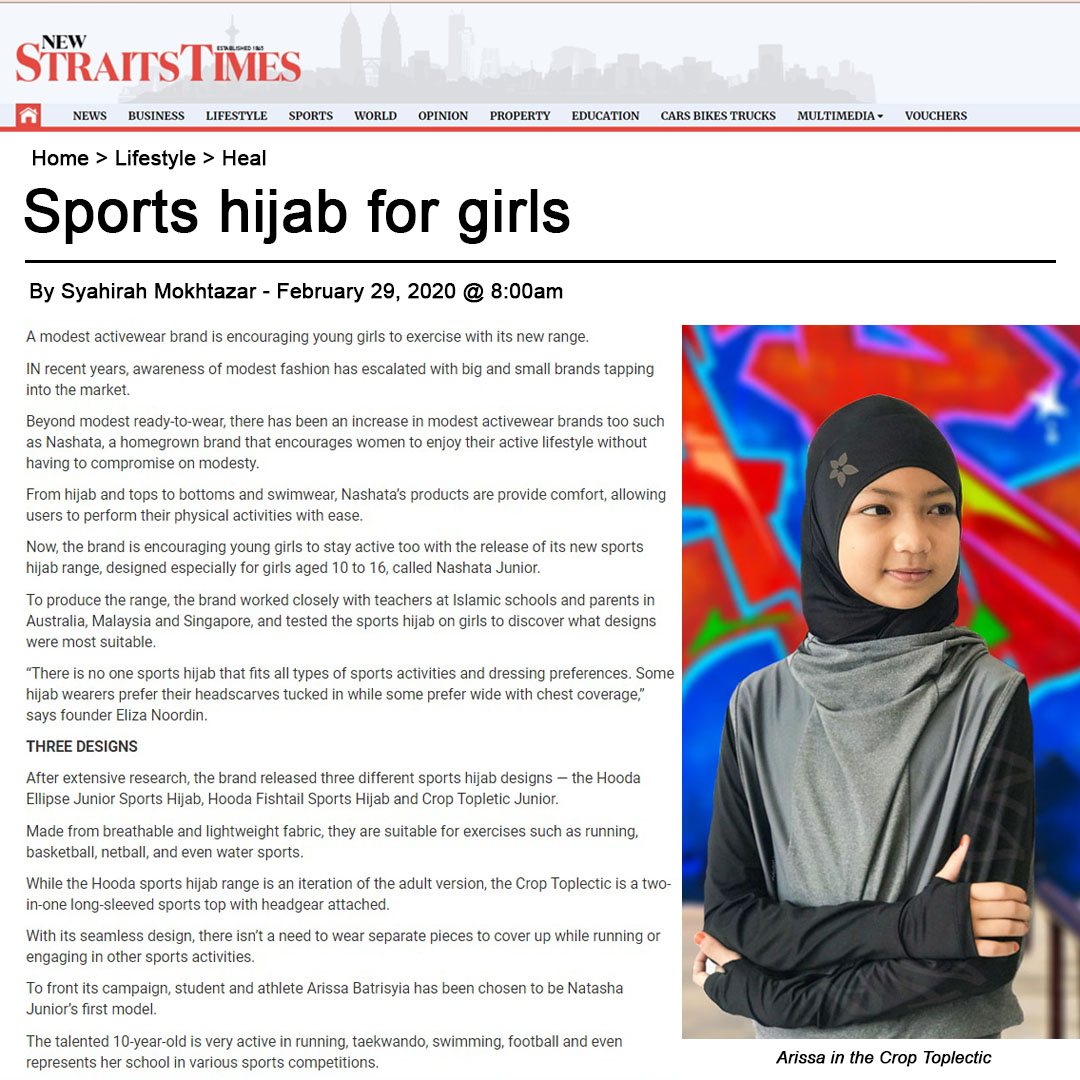 Nashata Junior Sports HIjab New Straits Times