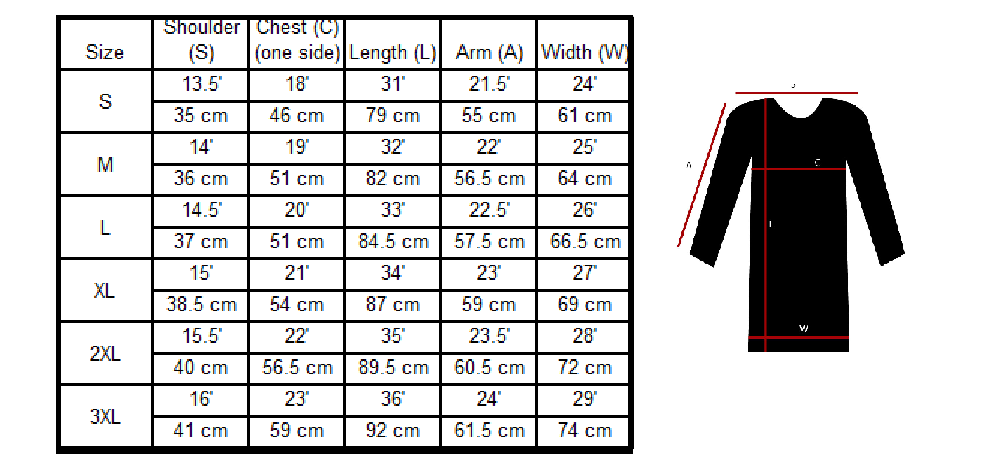 Long Sports top size chart pesaque