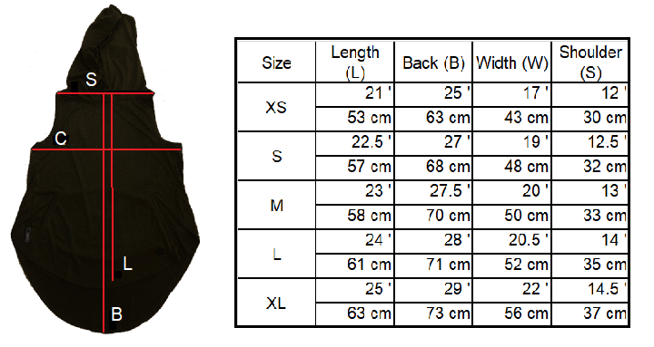Sleeveless Hoodie Size Chart